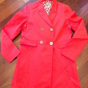 Tory Burch Trench Coat Red & Gold Size 4